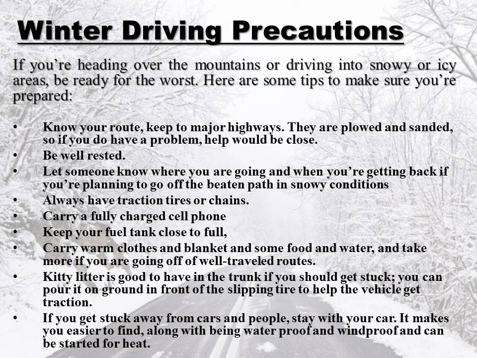 Winter Driving Precautions